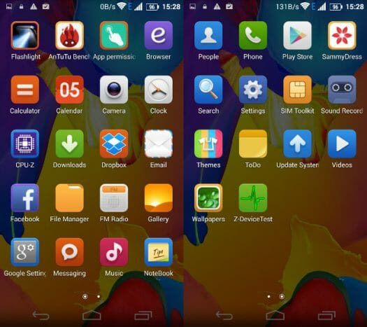 Pre-installed Apps (Click to Enlarge)
