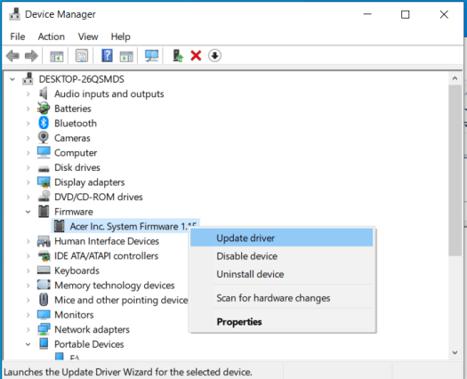 Device Manager: Firmware->Acer Inc System Firmware